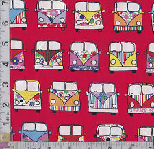 PATCHWORK/CRAFT FABRIC VW CAMPER VANS ON RED BACKGROUND 100% COTTON POPLIN