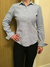 Womens TM LEWIN Fitted Blue Striped Shirt - UK Size 8