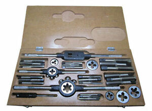 """RDGTOOLS BSW WHITWORTH TAP AND DIE SET WITH DIE STOCKS AND TAP WRENCH 1/4"""" -3/4"""""""