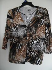 LAURA ASHLEY Women's Animal Print Cardigan Sweater & Tank  Twin Set Sz S