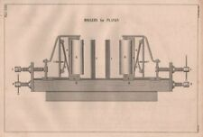 VICTORIAN ENGINEERING DRAWING. Rollers for planks 1847 old antique print