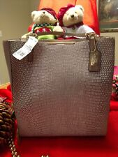 NWT Coach Madison Lizard Emb Bonded Fawn Leather Tote Shoulder Bag 28171