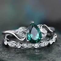 2pcs/set Women Jewelery Pear Cut Emerald 925 Silver Ring Wedding Gift Size 6-10