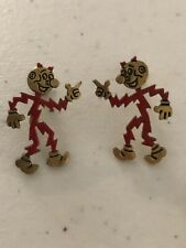 1950s Vintage Reddy Kilowatt The Mighty Atom Screw Back Earrings