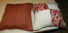 Pair of Red Cream Decorative Print Throw Pillows 17 x 17