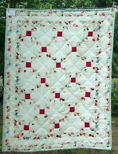 QUILTED 54x40 RETRO Girl Children Cat Red White Blue ~Irish Chain Wall Lap QUILT