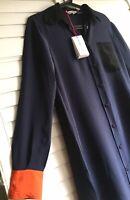 See By Chloe Navy Blue, Black,coral Orange Colorblock 100 % Silk Shirt Dress 6/M