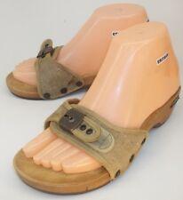 Dr. Scholls Wos Shoes Sandals US 7 Beige Canvas Wood Heel vintage Slides 4593