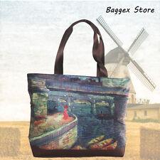 Masterpiece Painting Shoulder Tote Bag Van Gogh Bridges across the Seine