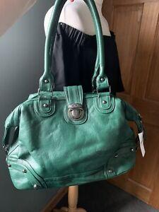 Happit Green Faux Leather Large Handbag