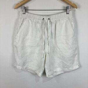 Academy Brand Mens Linen Shorts Size 32 White Elastic Waist Drawstring