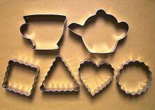 Teapot teacup different shape fondant baking metal cookie cutter 6pc/set