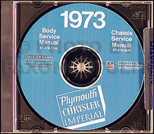 1973 Plymouth Shop Manual CD Roadrunner Satellite Fury Barracuda Duster Valiant
