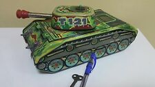 Vintage Tin Toy Tank T-121 Panzer Wind Up Clockwork Original Key Made In Chech