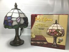 Dale Tiffany Stained Glass Purple & Blue Floral Wildflower Mini Table Lamp