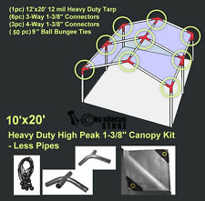 10'x20' H. Duty 1-3/8'' High Peak Carport Canopy Kit Silver *POLES NOT INCLUDED
