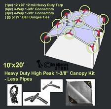 10' x 20' Heavy Duty 1-3/8'' High Peak Carport Canopy Kit LESS PIPE POLES Silver