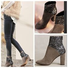 NEW Anthropologie Cubanas Ciara Glitter Boots Size 41 Gray Suede Brocade