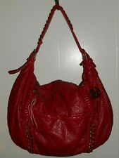 RED BY MARC ECKO Red Pebbled Faux Leather Slouch Hobo Shoulder Bag VGUC