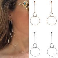 Circle Chain Long Earrings Fashion Women Geometric Metal Earring Ear Stud Dangle