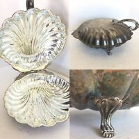 "Gorgeous Vintage Silver Plate Clam Shell Covered Dish w/ Feet LARGE 13"" x 11.5"""