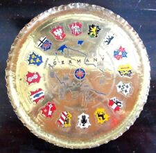 Vintage German Hand Made Brass Coat of Arms Tray/Platter Hang-Mid-Century Modern