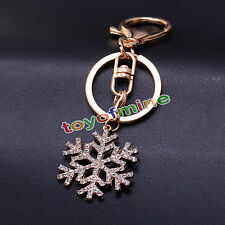 Rhinestone Snow Keyring Charm Pendant Purse Bag Key Ring Chain Keychain