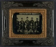 Photo Civil War Union Soldiers In Uniform With Bayoneted Muskets and Drum