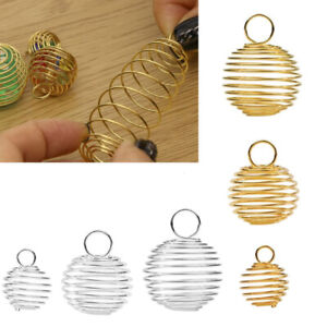 10x Metal Spiral Bead Cages Bead For Jewelry Making Accessories Gift