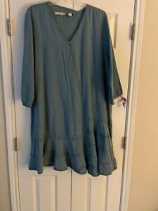 Cynthia Ashby Linen Swing Tunic / Dress Large L Artful Boho Tiers Pre-Owned
