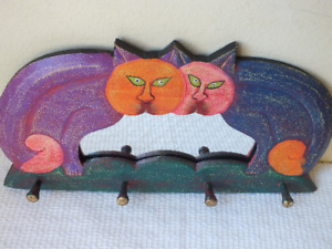 Wood Hand Carved & Hand Painted CAT MIRROR & HANGER ~ w 4 Pegs for Hanging