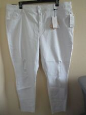 NWT- MELISSA MCCARTHY white Denim Distressed Pencil Jeans - sz 24W - MSRP $98.00
