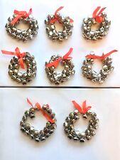 Lot of 8 Vintage Pottery Barn Silver Jingle Bell Napkin Rings *Holiday Christmas