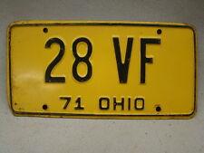 Vintage Ohio State license plate 1971 Tag No. 28 Vf