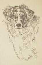 Australian Shepherd Dog Art Word Drawing PRINT #39 Kline adds dogs name free.