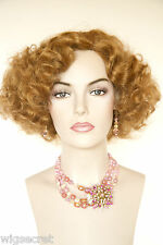 Strawberry Blonde Red Medium Skin Top Wavy Curly Costume Wigs