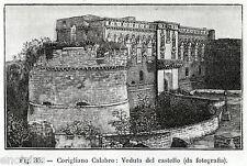 Corigliano Calabro: Castello.Cosenza.Calabria. Stampa Antica + Passepartout.1900