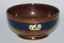 "Antique Copper Lustre Ware - 4 3/4"" Bowl with Blue Band - vgc"