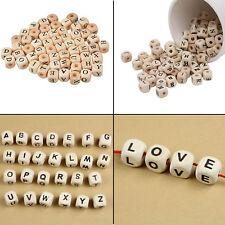 10mm Wooden Cube Alphabet Letter Beads for DIY Crafts Keychain Bracelets 100pcs