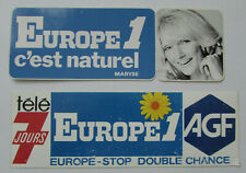 Lot 2 Autocollants publicitaires Europe 1 c'est naturel ! Maryse & Télé 7 Jours