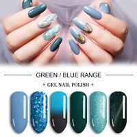 LVS 8ml Green Blue Range UV LED Soak Off Gel Nail Polish Glitter Varnish Spring