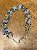 VTG Goldette NY Rustic Bracelet Crescent Moons Turquoise Faux Pearl Safety Chain