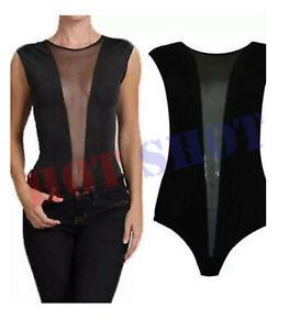 Ladies Sleeveless Full Mesh Body Suit Women's Leotard Summer Top New 8-14 UK
