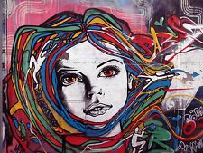 175cm x 100cm girl face street art graffiti urban wall painting print canvas