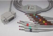 Siemens Bosch Hellige 10 Lead Wrie EKG ECG Cable Banana 4.0 AHA 15 Pins