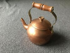 New listing Vintage Copper Tea Pot with Wooden Handle & Lid Made in Portugal