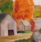 "12""x 16"" Folk Art FALL LANDSCAPE Original OIL PAINTING Canvas BARN FARM by NANCE"