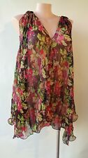 Lily Whyt floral black green red top Size 12 one sleeveless