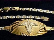 7.5 INCH WOMAN ITALIAN MEDIC MEDICAL REAL 10K WHITE & YELLOW GOLD BRACELET ALERT
