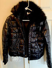 H&M DIVIDED Women's Black Shiny Coat Quilted  Puffer Faux Fur Collar Size 6